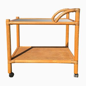 Vintage Bamboo Bar Trolley, 1980s