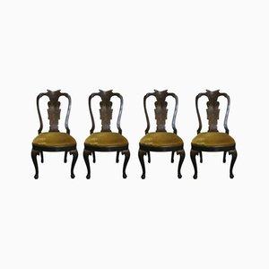 Sillas Chippendale antiguas, década de 1800. Juego de 4
