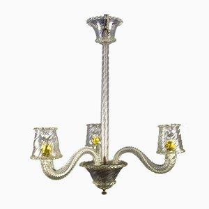 Lampadario a tre luci Art Deco vintage in vetro di Murano