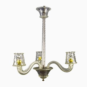 Vintage Art Deco Murano Glass Three-Light Chandelier