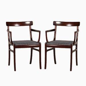 Dänische Vintage Rungstedlund Armlehnstühle aus Mahagoni von Ole Wanscher für Poul Jeppesens Møbelfabrik, 1970er, 2er Set
