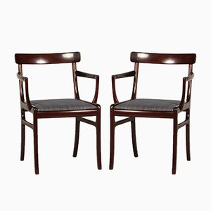 Vintage Danish Rungstedlund Mahogany Armchairs by Ole Wanscher for Poul Jeppesens Møbelfabrik, 1970s, Set of 2
