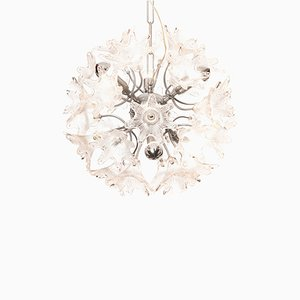 Lámpara de araña vintage con flores de vidrio y cromo de Paolo Venini para VeArt, años 60