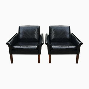 Rosewood and Leather Armchairs by Hans Olsen for C.S. Møbler, 1950s, Set of 2