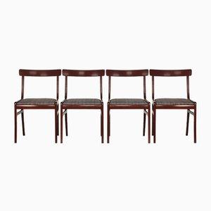 Dänische Vintage Rungstedlund Armlehnstühle aus Mahagoni von Ole Wanscher für Poul Jeppesens Møbelfabrik, 1970er, 4er Set
