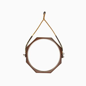 Espejo italiano Mid-Century octogonal de madera, años 60