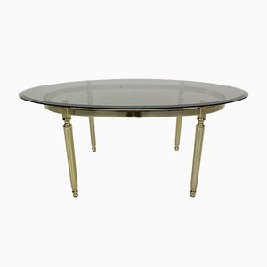 Hollywood Regency Style French Smoked Glass & Brass Oval Cocktail Table, 1970s