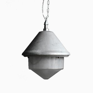 Industrial Pendant Lamp with Glass Diffuser from Holophane, 1950s