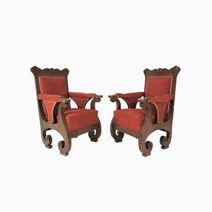 Antike Biedermeier Armlehnstühle von Johann Nepomuk, 2er Set