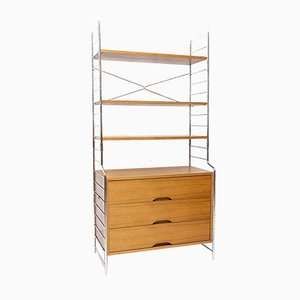 Modernist Walnut & Chrome Shelving Unit from WHB, 1970s