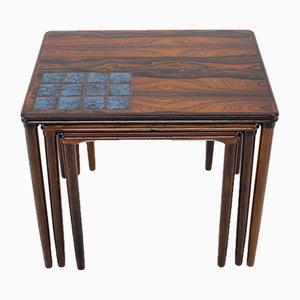 Tavolini ad incastro vintage in palissandro con piastrelle, anni '60