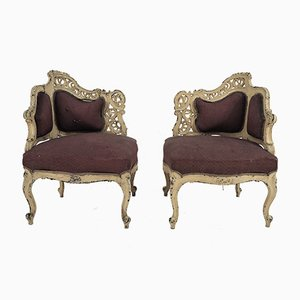 Antique Rococo Style Armchairs, Set of 2