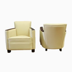 Vintage Art Deco Leather and Walnut Armchairs, 1980s, Set of 2