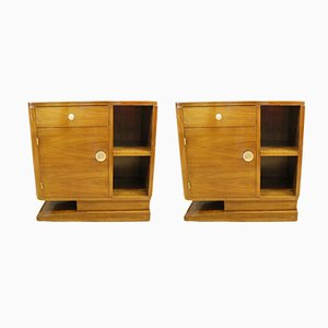 Art Deco Walnut Bedside Tables, 1930s, Set of 2