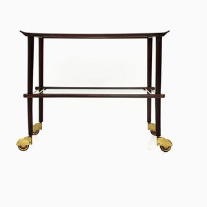 Mid-Century Italian Wood and Glass Bar Cart, 1950s