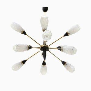 Lámpara de araña italiana Mid-Century de latón y vidrio, años 60