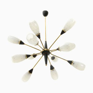 Mid-Century Italian Brass and Glass Chandelier, 1960s