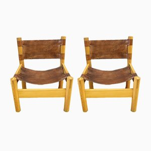 Leather & Ash Lounge Chairs, 1970s, Set of 2