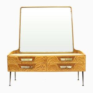 Cajonera italiana Mid-Century de madera con espejo, años 50