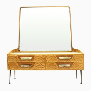 Mid-Century Italian Wood & Veneer Dresser with Mirror, 1950s