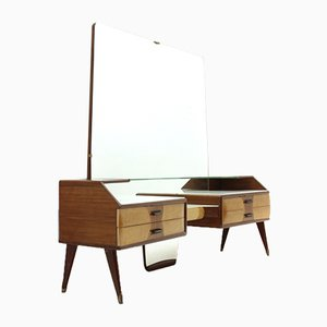 Mid-Century Italian Wood and Glass Dressing Table with Mirror, 1950s