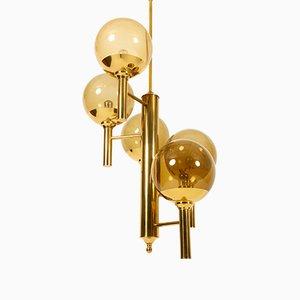 Lámpara de araña Mid-Century de latón de Svend Mejlstrøm para Mejlstrøm Belysning, años 60