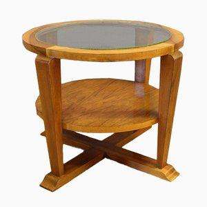 Tavolino rotondo Art Deco in noce, anni '30