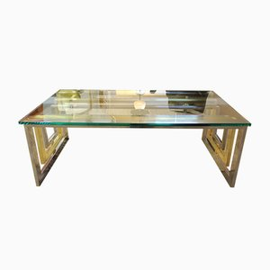 Table Basse en Laiton, Chrome et Verre, 1970s