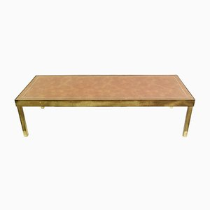 Leather and Brass Coffee Table
