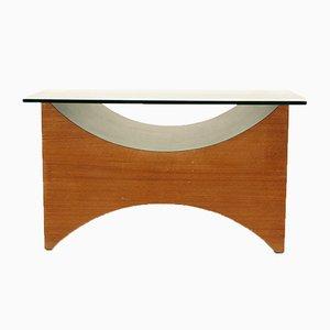 Mesa de centro vintage de madera y vidrio