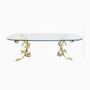 Mesa de centro italiana vintage de latón pulido y vidrio