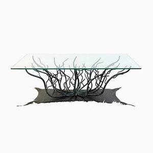 Vintage Wrought Iron & Glass Coffee Table, 1970s
