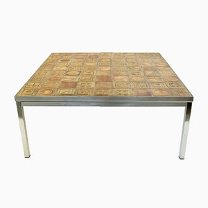 Vintage Chrome and Terracotta Tile Coffee Table, 1970s