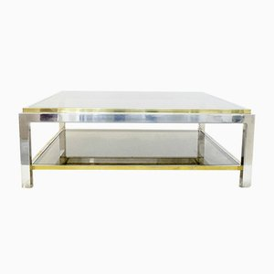 Smoked Glass, Brass & Chrome Two-Tier Coffee Table, 1970s