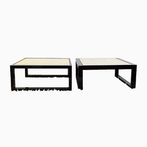 Vintage Travertine & Bronze Coffee Tables, Set of 2