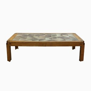French Ceramic and Elm Coffee Table by Pierre Chapo, 1960s
