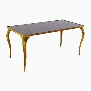 Table Basse Vintage en Laiton et Verre Noir, 1970s