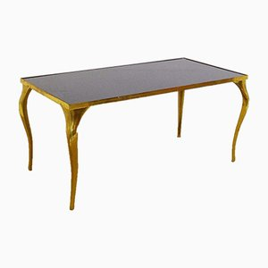 Vintage Brass & Black Glass Coffee Table, 1970s