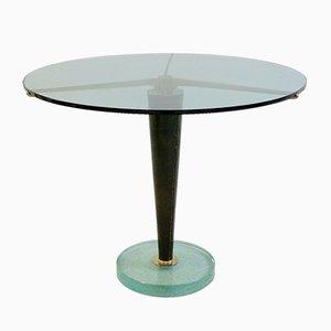 Mesa auxiliar vintage de vidrio, cuero y latón, años 50