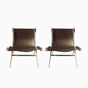 Chrome and Leather Lounge Chairs, 1980s, Set of 2