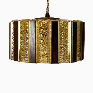 Brass, Glass, and Teak Ceiling Pendant by Werner Schou for Coronell Elektro, 1960s