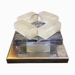 Lámpara de mesa italiana era espacial de acero y vidrio de Albano Poli para Poliarte, años 70