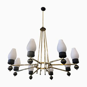 Mid-Century Modern Brass & Black Metal Chandelier by Gio Ponti, 1950s