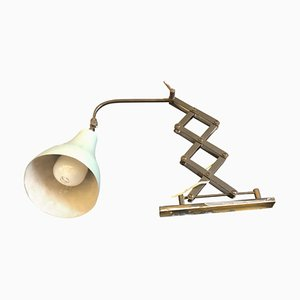 Mid-Century Modern Italian Brass & Green Metal Scissor Lamp, 1950s