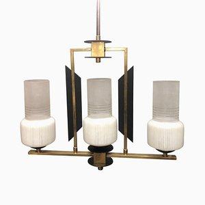 Lámpara de araña Mid-Century de madera ebonizada, vidrio y latón con tres luces de Stilnovo, años 50