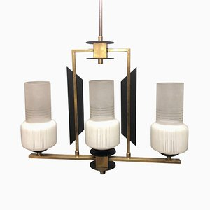Mid-Century Ebonized Wood, Brass & Glass 3-Light Chandelier from Stilnovo, 1950s