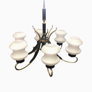 Mid-Century Italian Brass, Ebonized Wood & White Glass Chandelier from Stilnovo, 1950s