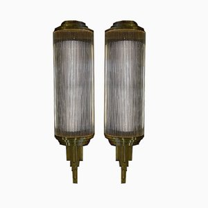 Large Art Deco Brass and Glass Wall Lamps, 1920s, Set of 2