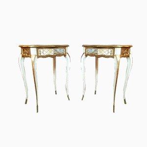 Mesitas de noche venecianas estilo Louis XV de vidrio grabado y madera pintada, años 20. Juego de 2