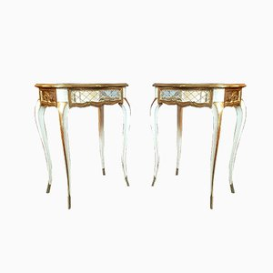 Tables de Chevet Louis XV Style Vénitien en Verre Gravé et en Bois Peint, 1920s, Set de 2